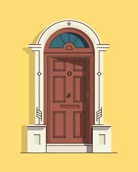 美しい茶色のレトロなヴィンテージの正面玄関。家の外観。家の入り口。有色。
