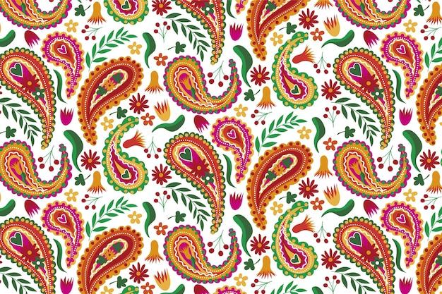 ペイズリーの伝統的なシームレスパターンの美しい茶色のトーン