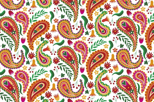 Beautiful brown tones of paisley traditional seamless pattern