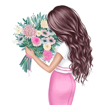Beautiful brunette with a bouquet of flowers. fashion illustration.