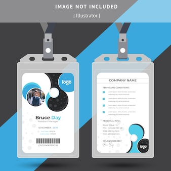 Beautiful bule and black id card  template