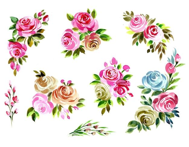 Красивый букет цветов набор акварельный дизайн