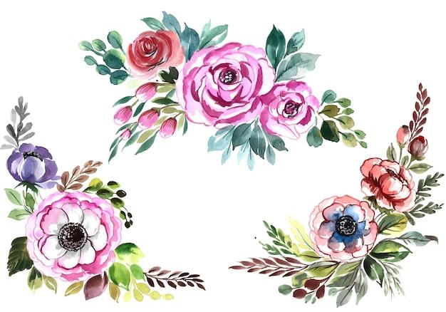 美しい束の花は水彩デザインを設定します