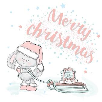 クリスマスの服と新年の美しいウサギ