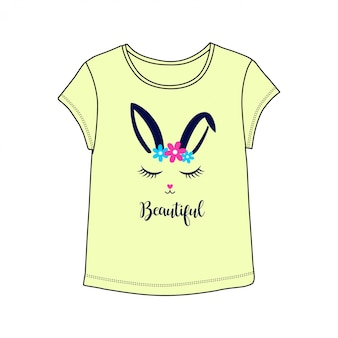 Beautiful bunny illutration with t-shirt