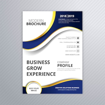 Beautiful business brochure wave template vector