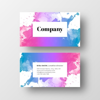 Beautiful business card with colorfuf watercolor splash
