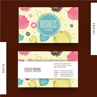 Beautiful business card with decorative flowers in flat design