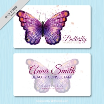 Beautiful business card with watercolor butterfly