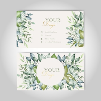 Beautiful business cards template floral watercolor