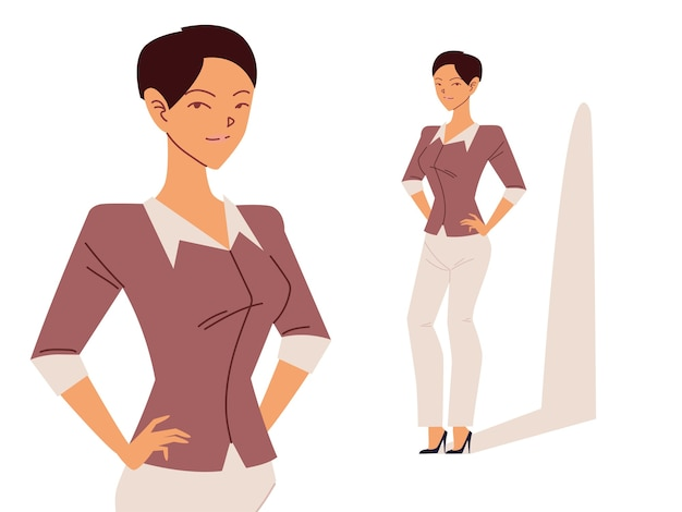 Beautiful business woman in different poses