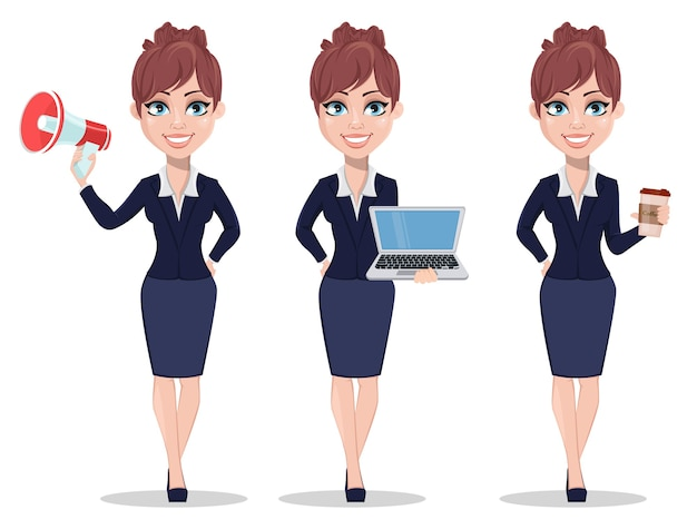 オフィススタイルの服を着た美しいビジネスウーマン