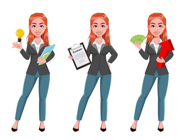 3 つのポーズの美しいビジネスウーマン セット。陽気な実業家の漫画のキャラクター