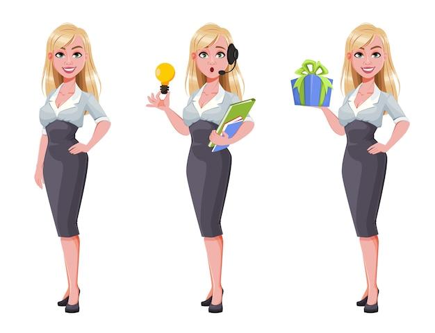 Красивая деловая женщина мультипликационный персонаж