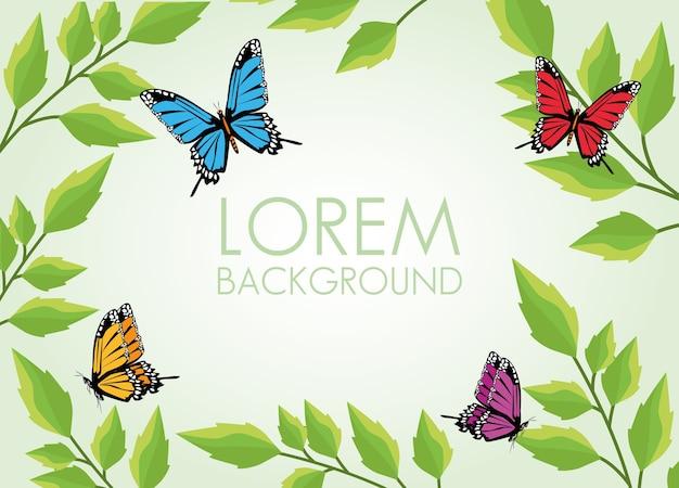 美しい蝶と葉の植物の装飾的なパターンの背景。