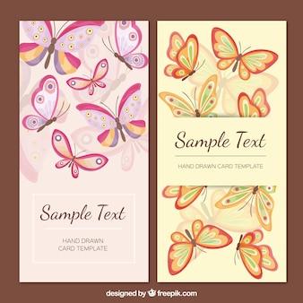 ヴィンテージスタイルの美しい蝶カード