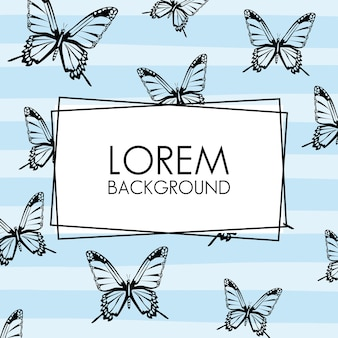 Beautiful butterflies decorative pattern background with square frame.