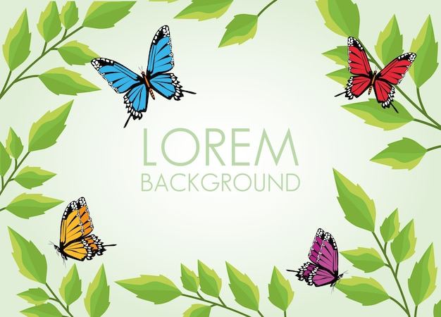 Beautiful butterflies and leafs plant decorative pattern background.