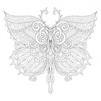 Beautiful butterfly for adult coloring book