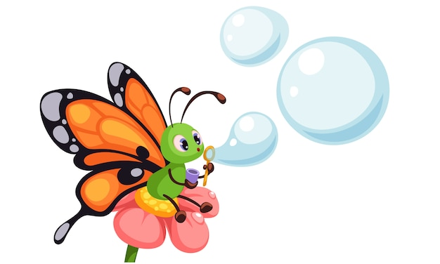 Beautiful butterfly blowing bubbles