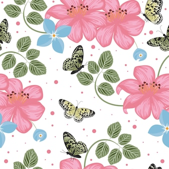 Beautiful butterfly flying colorful seamless background repeatable