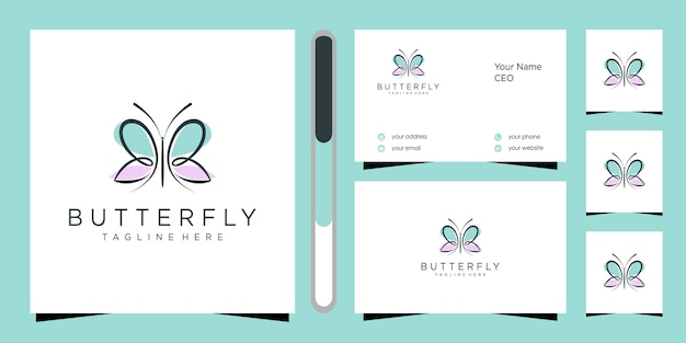 Beautiful butterfly logo and business card