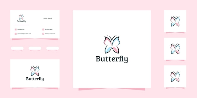 Beautiful butterfly logo design and business card