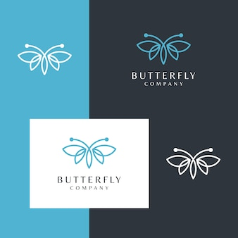 Beautiful butterfly logo with a simple line design style