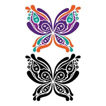 美しい蝶のタトゥー。蝶の形の芸術的なパターン。カラーと白黒バージョン