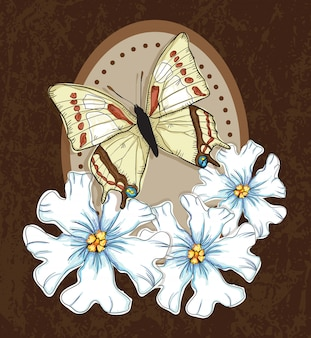 Beautiful butterfly wiht white flowers on brown background