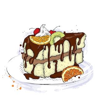 과일과 함께 아름 다운 케이크입니다.