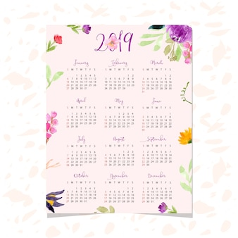 Beautiful calendar 2019 with floral watercolor background