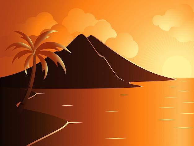 일몰시 산으로 아름 다운 진정 해변