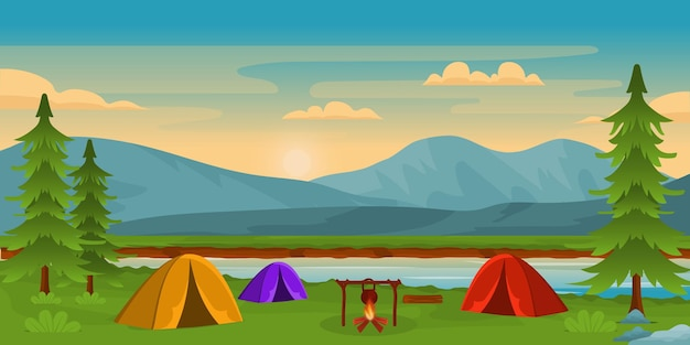 キャンプや丘と美しいキャンプの背景