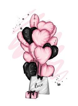 美しいカードハートの幸せなバレンタインデー