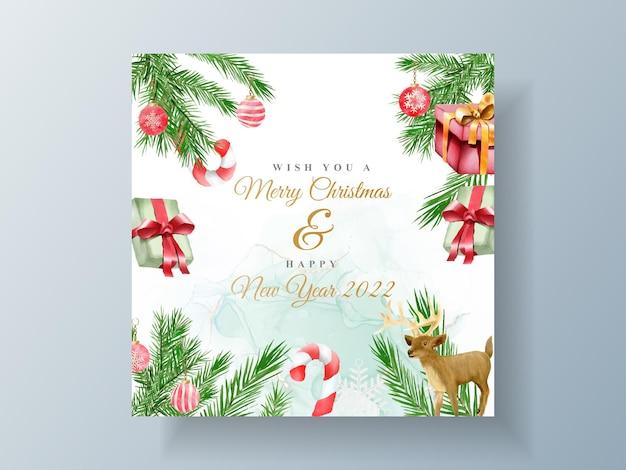 Красивый шаблон карты с цветочным и рождественским орнаментом
