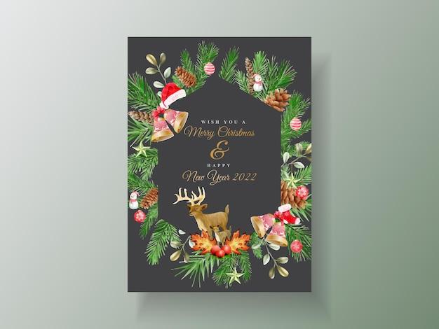 Красивый шаблон карты с цветочным и рождественским орнаментом акварелью