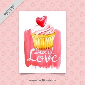 カップケーキや装飾的な心を持つ美しいカード