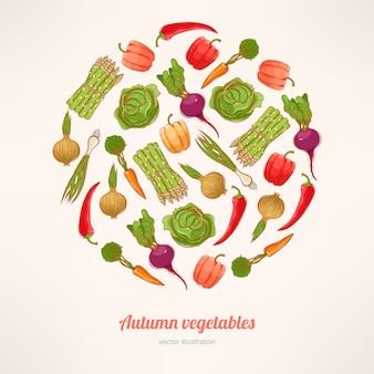 円形に積み上げられた新鮮な野菜と美しいカード