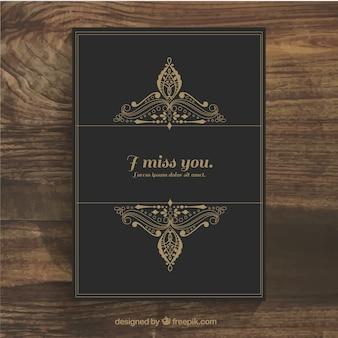 Bella carta con ornamenti d'oro