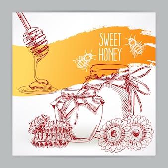 꿀과 함께 아름 다운 카드입니다. 꿀 항아리, 꿀벌, 벌집. 손으로 그린 그림 - 2