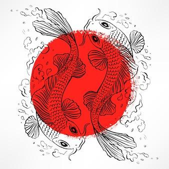 빨간 원 안에 일본 잉어가 있는 아름다운 카드. 손으로 그린 그림