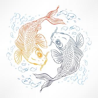 오렌지와 회색 일본 잉어와 아름다운 카드. 손으로 그린 그림