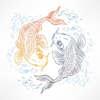 Beautiful card with orange and gray japanese carps. hand-drawn illustration