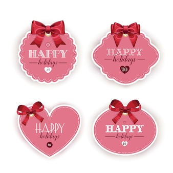 Beautiful cards with gift bows with ribbon
