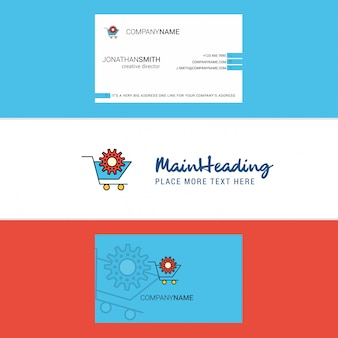 Beautiful cart setting  logo and business card. vertical