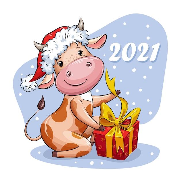 サンタの帽子の美しい漫画の牛がクリスマスプレゼントを開きます。 2021年のシンボル。クリスマスのキャラクター。 v