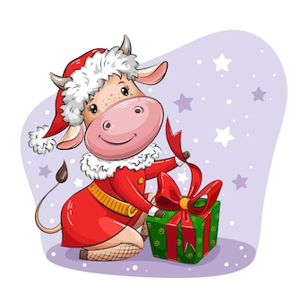 サンタのスーツを着た美しい漫画の牛がクリスマスプレゼントを詰めています。年のシンボル。クリスマスのキャラクター。