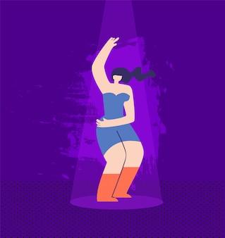 Красивая мультфильм диско женщина в повседневной одежде