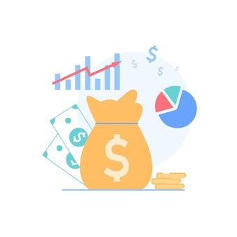 Beautiful cartoon flat financial symbols for education class business course